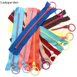5PCS 15/2030/40cm 3# Closed End Resin Zippers Pull Ring Zip Slider Head for Sewing Bags Wallet Purse Cloth Accessories Crafts