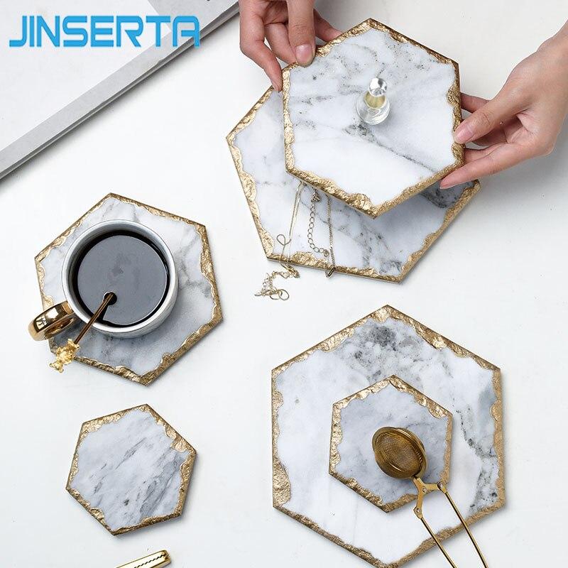 Мраморный поднос для хранения JINSERTA, ретро-тарелка для ювелирных изделий, косметический Органайзер, контейнер для еды, поднос для чая, кофе, молока, подарки-0