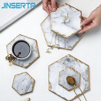 Мраморный поднос для хранения JINSERTA, ретро-тарелка для ювелирных изделий, косметический Органайзер, контейнер для еды, поднос для чая, кофе, молока, подарки