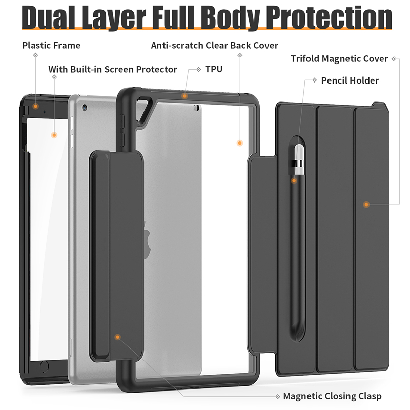HXCASE Leather Smart Cover for iPad 7th Generation Case 10 2 inch Newest Transparent Back Cover