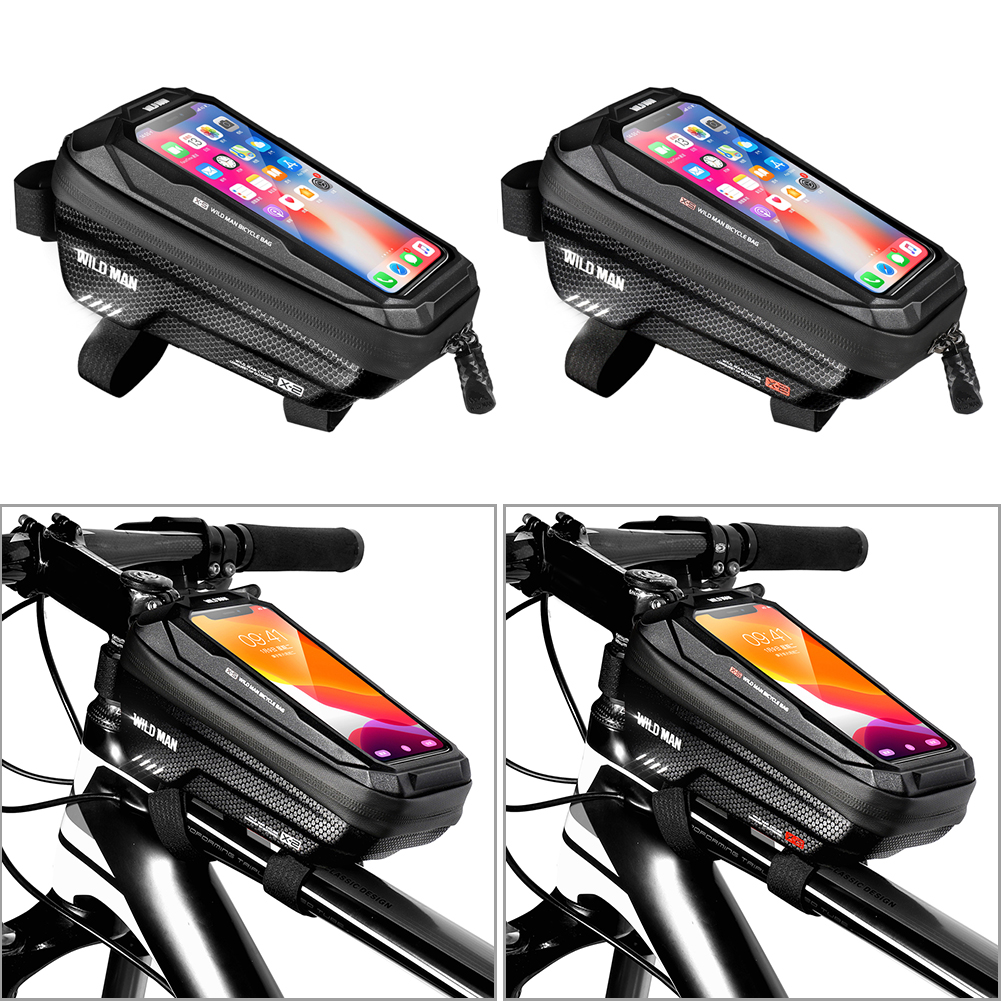 WILD MAN 1L MTB Bicycle Touch Screen Bag Waterproof Top Tube Hard Shell Case Cycling Riding Equipment Bike Accessories