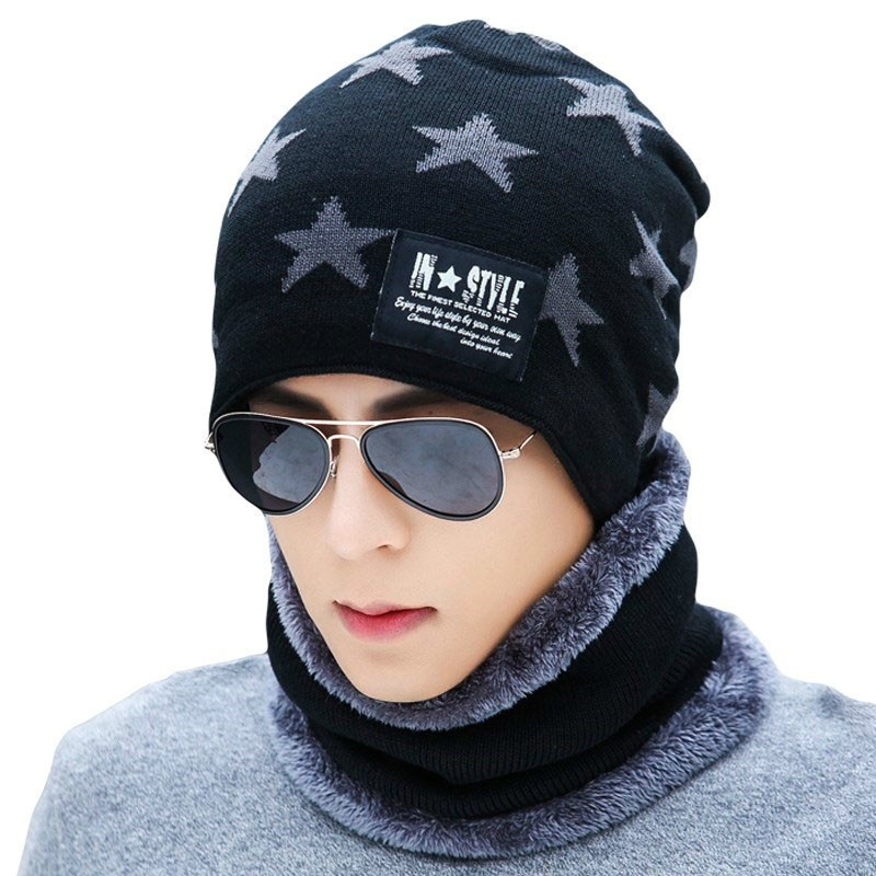 2019 Winter Hats For Men Skullies Beanie Hat Winter Cap Women Wool Scarf Caps Set Child Balaclava Mask Gorras Bonnet Knitted Hat