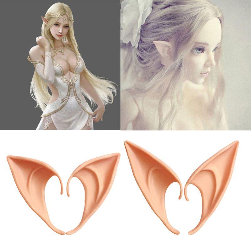 HBB 1Pair Halloween Costume Ear Tips Elf Fairy Hobbit Vulcan Spock Alien Cosplay Novelty Gag Joke Toys
