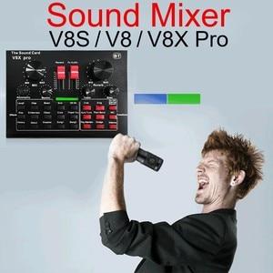V8x pro som mixer áudio jogo dsp gravação streaming ao vivo profissional bluetooth microfone externo placa de som usb