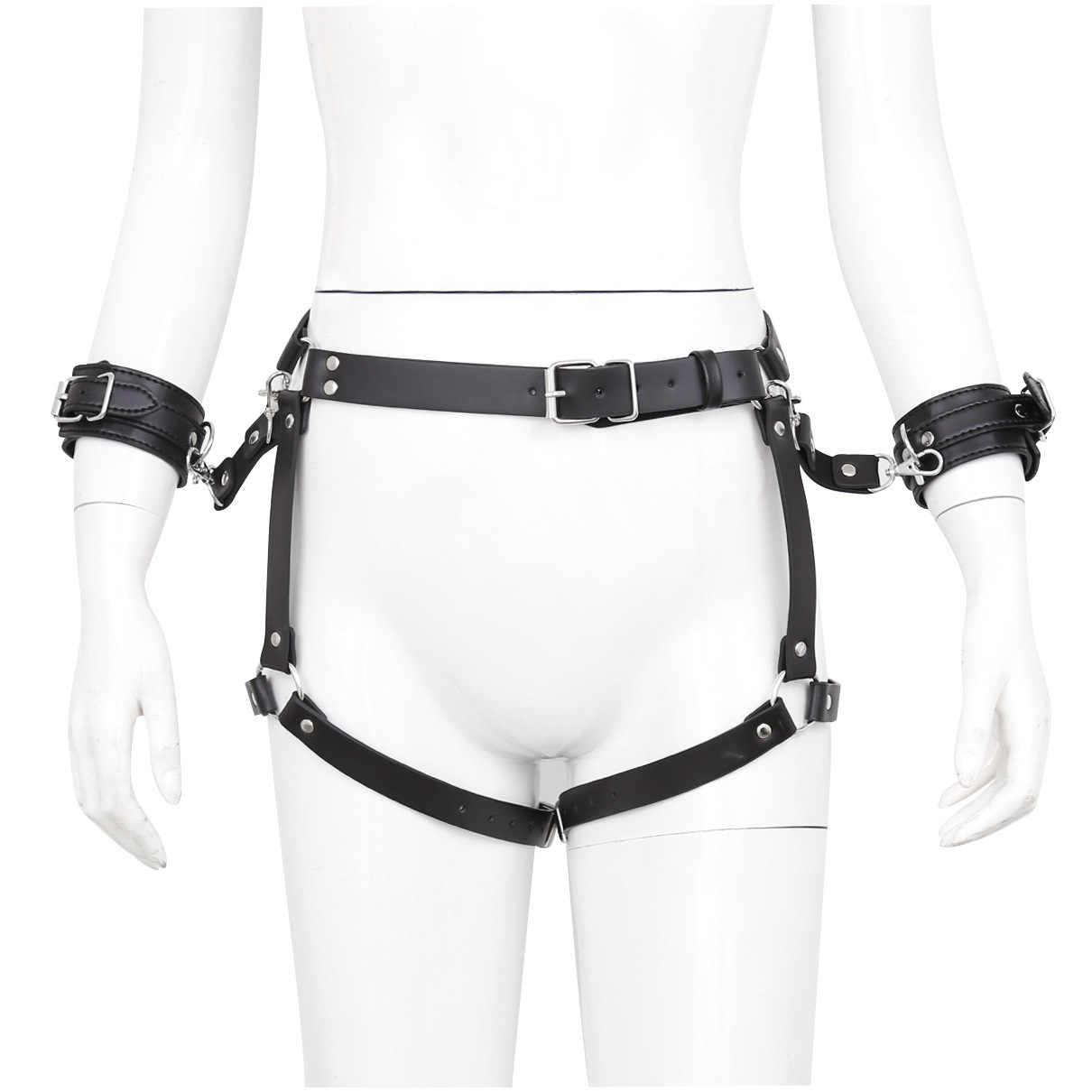 BDSM Mainan PU Kulit Borgol untuk Seks Belt Body Harness Pria Wanita Pelacur Budak Tangan Manset Diikat Gelang Sabuk Gay fetish Pakai