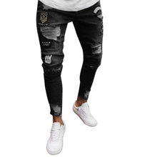 Mens Cool Designer Brand Black Jeans Skinny Ripped Destroyed Stretch Slim Fit Hop Hop Fashion Pants With Holes For Men(China)