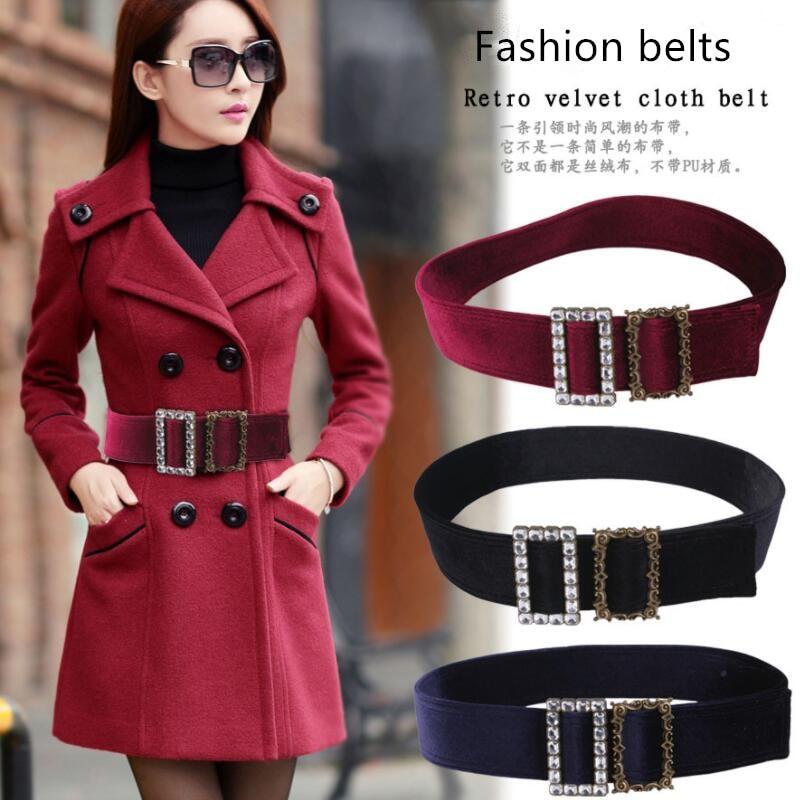 High Quality Women Widening Waist Seal Luxury Design Suede Belts Suede Glass Rhinestone Decorative Coat Sweater Belt Waistband