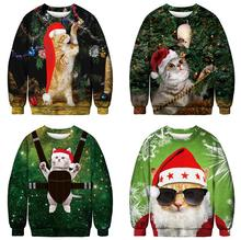 Unisex Men's Women's 2019 Ugly Christmas Sweater Vacation Santa Elf Funny Christmas Fake Hair Jumper Autumn Winter Tops Clothing