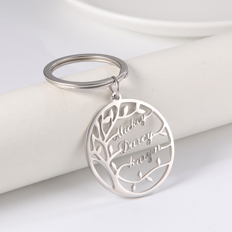 Lemegeton Tree of Life Custom Name Keychain Personalized Family Name Key Chain Stainless Steel Family Tree Keyring