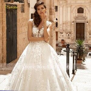 Image 3 - Loverxu V Neck A Line Lace Wedding Dresses Delicate Appliques Cap Sleeve Button Bride Dresses Court Train Bridal Gowns Plus Size