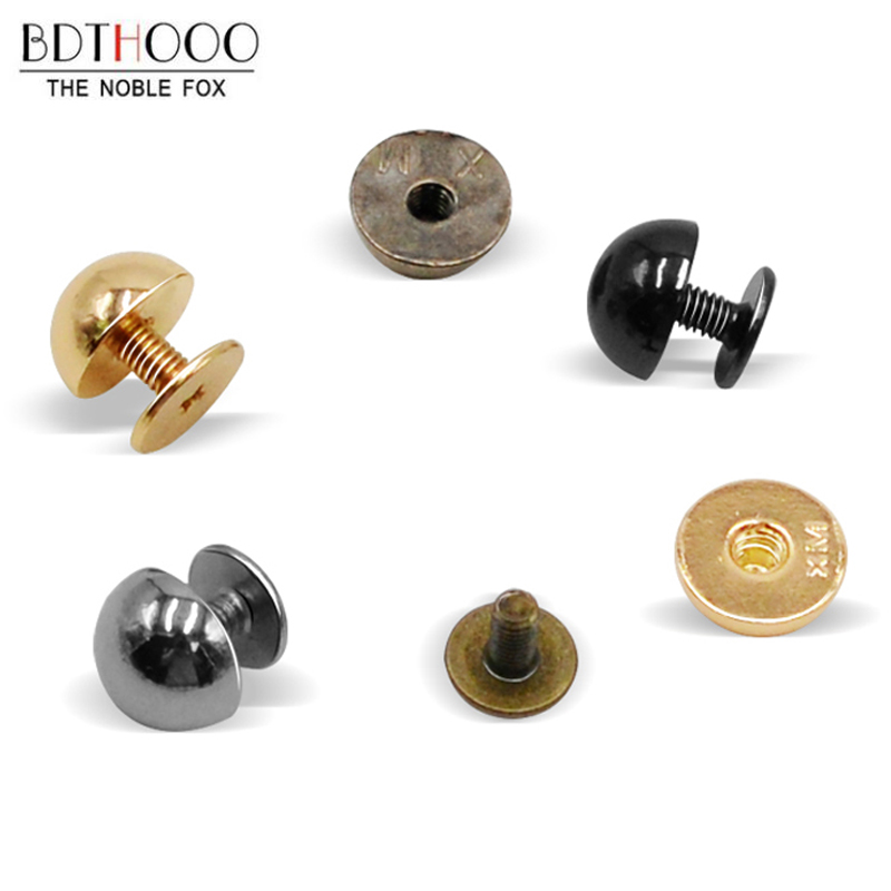10sets Round Metal Bottom Screw For Bags 10mm Mushroom Nail DIY Bags Accessories Rivets Wear Protection Bag Feet