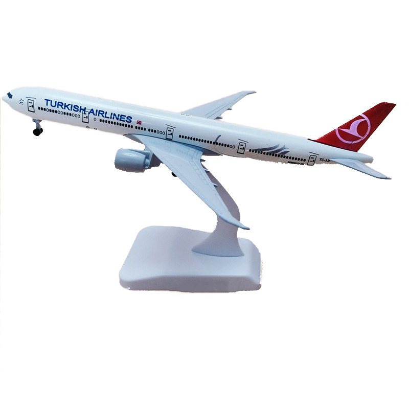 20CM Turkish Airlines Boeing 777 B777 Aircraft Metal Diecast Plane model Airplane Toys with wheel Collectible Display gift image