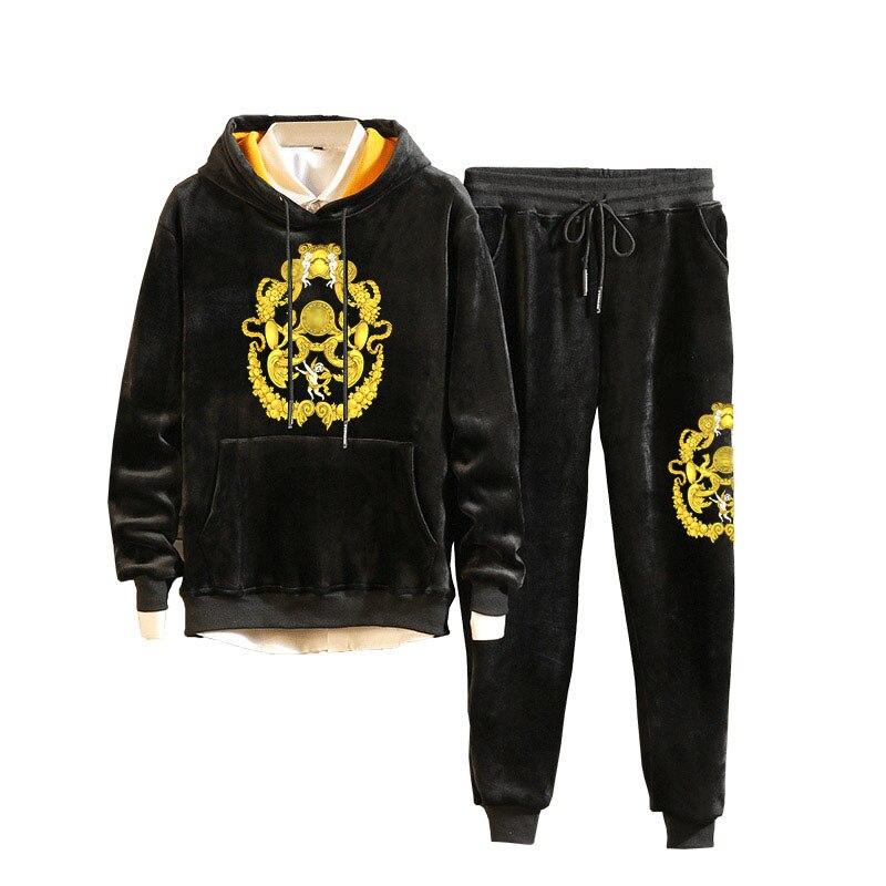 Men Velour Velvet Full Hoodies Gym TrackSuit Sport Sweats Jacket Coat Bottom Top Suit Trousers Pants Track Suit Outfit Floral