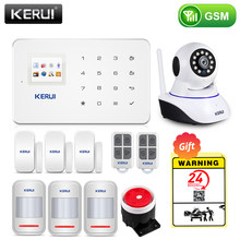 Kerui casa inteligente sem fio gsm sistema de alarme segurança sms app controle casa detector movimento sensor sinal do assaltante dispositivo ip camere