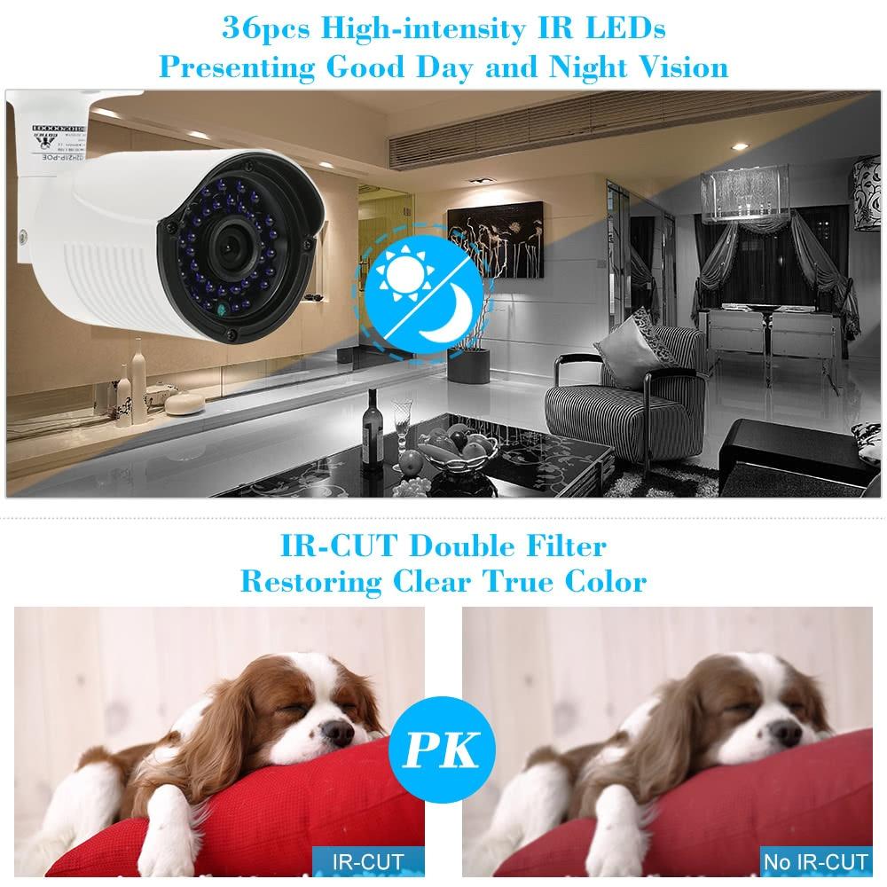 COTIER 1080P HD POE IP Camera 2.0MP 3.6mm 1/2.8'' CMOS H.264 P2P Onvif 36 IR LEDS Night View IR-CUT Motion Detection