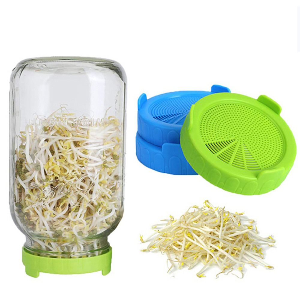 Sprouting Lid Food Grade Mesh Sprout Cover Kit Seed Growing Germination Vegetable Silicone Sealing Ring Lid For Mason Jar
