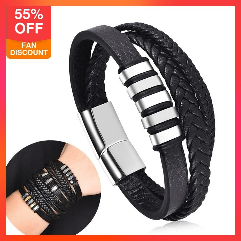 Jiayiqi Multilayer Braided Leather Male Bracelet Fashion Stainless Steel Magnetic Clasp Wrap Bracelets Punk Charm Men Jewelry