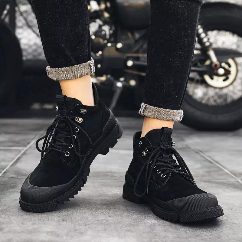 Мужские кожаные ботинки до щиколотки коричневые непромокаемые