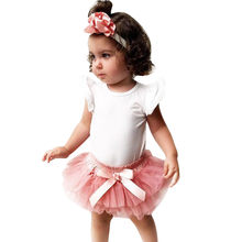 Newborn Kids Baby Girls Outfits Clothes Romper Bodysuit+Tulle Skirt+Headband Set 2019 NEW Drop Shipping(China)