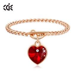 Cde romântico coração ouro cor pulseiras para mulher cristais vermelhos de swarovski charme pulseiras moda jóias femme bijoux