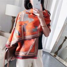 2 mặt Cashmere Khăn Choàng Cổ Nữ 2020 mới mùa đông khăn dày dặn ấm khăn choàng và đeo thương hiệu thiết kế Khăn choàng Pashmina Femme echarpe áo choàng