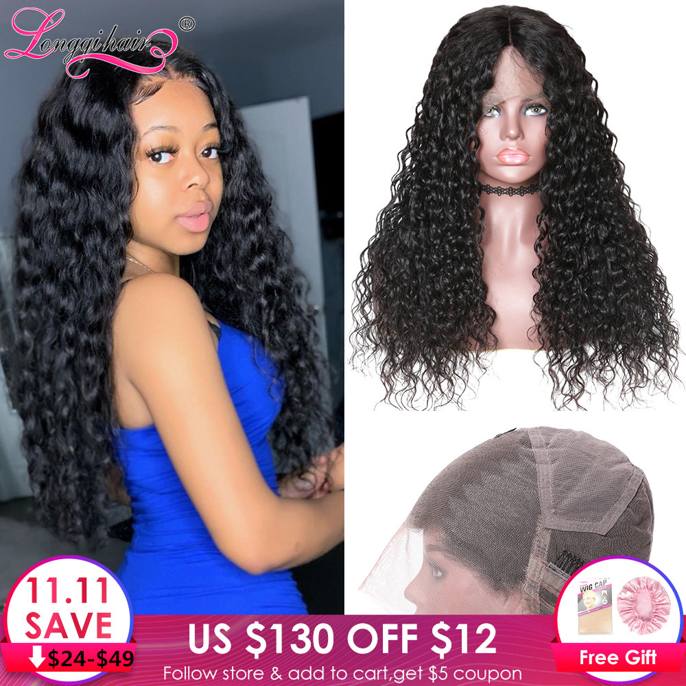 Longqi Hair Brazilian Water Wave Wigs Human Hair Remy Natural Hair Wigs Pre Plucked Full Lace Human Hair Wigs For Black Women