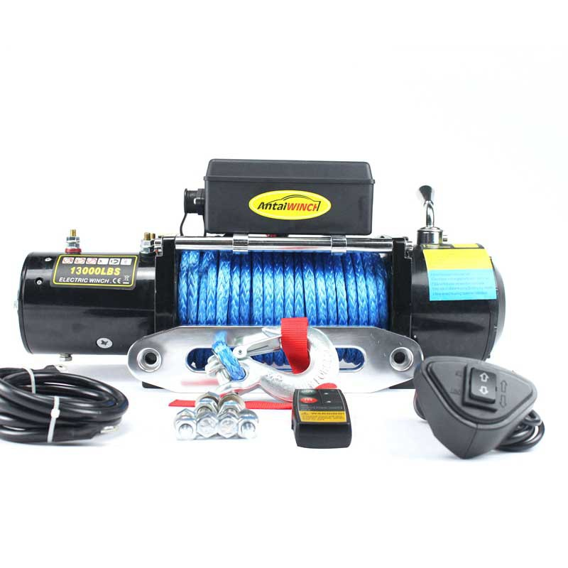 12v/24v 13000 Pound Nylon Rope Off-road Winch Electric Winch Automobile Winch With Wireless Remote Control