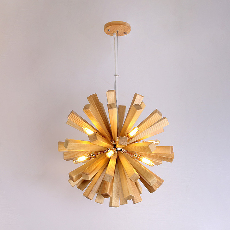 Nordic Dandelion z litego drewna wisząca lampa wisząca drewniana lampa wisząca hanglamp salon lampa do jadalni restauracji