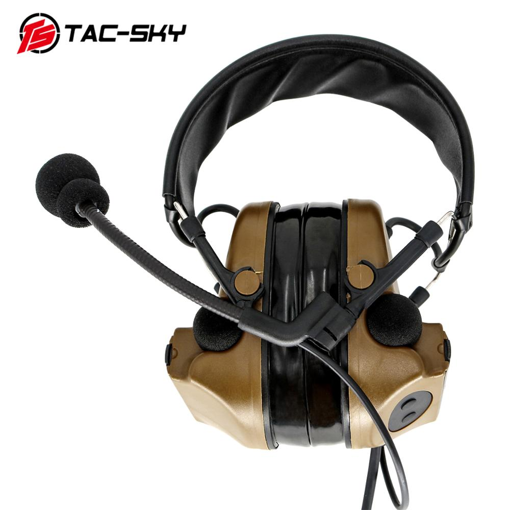 TAC-SKY COMTAC II silicone earmuffs hearing defense noise reduction pickup military tactical headset CB