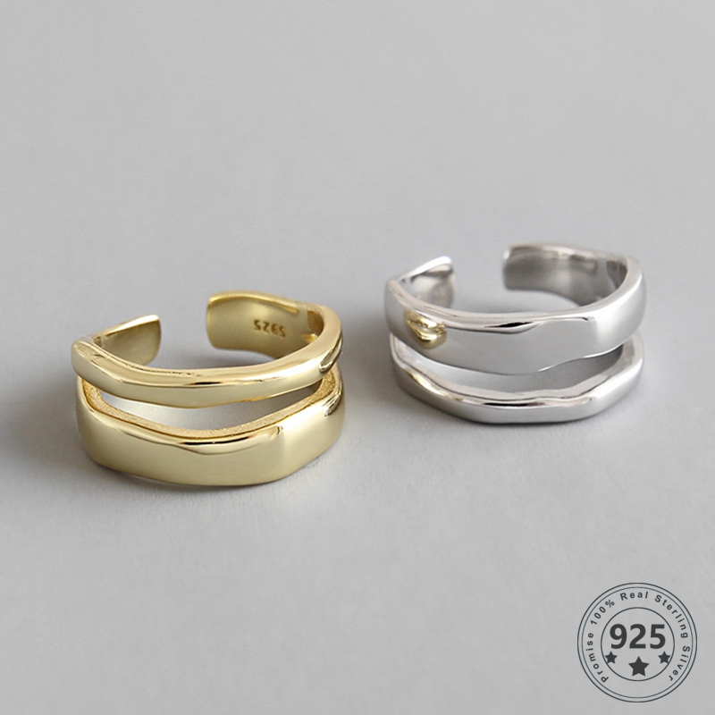 LouLeur Real 925 Sterling Silver Open Rings Minimalist Smooth Double Line Irregular Rings For Women Fashion Fine Jewelry Gifts