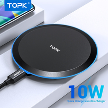 TOPK Wireless ChargerสำหรับiPhone XS MAX X 8 PLUS 10W Fast CHARGING PadสำหรับSamsungหมายเหตุ 9 หมายเหตุ 8 S10 PLUS