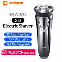 Xiaomi soocas tão branco barbeador elétrico navalha homem lavável usb recarregável sem fio 3d inteligente controle de barbear barba máquina