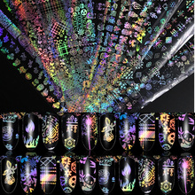 1 Roll 4*100cm Holographic Nail Foil Flame Dandelion Panda Bamboo Holo Art Transfer Sticker Water Slide Decals