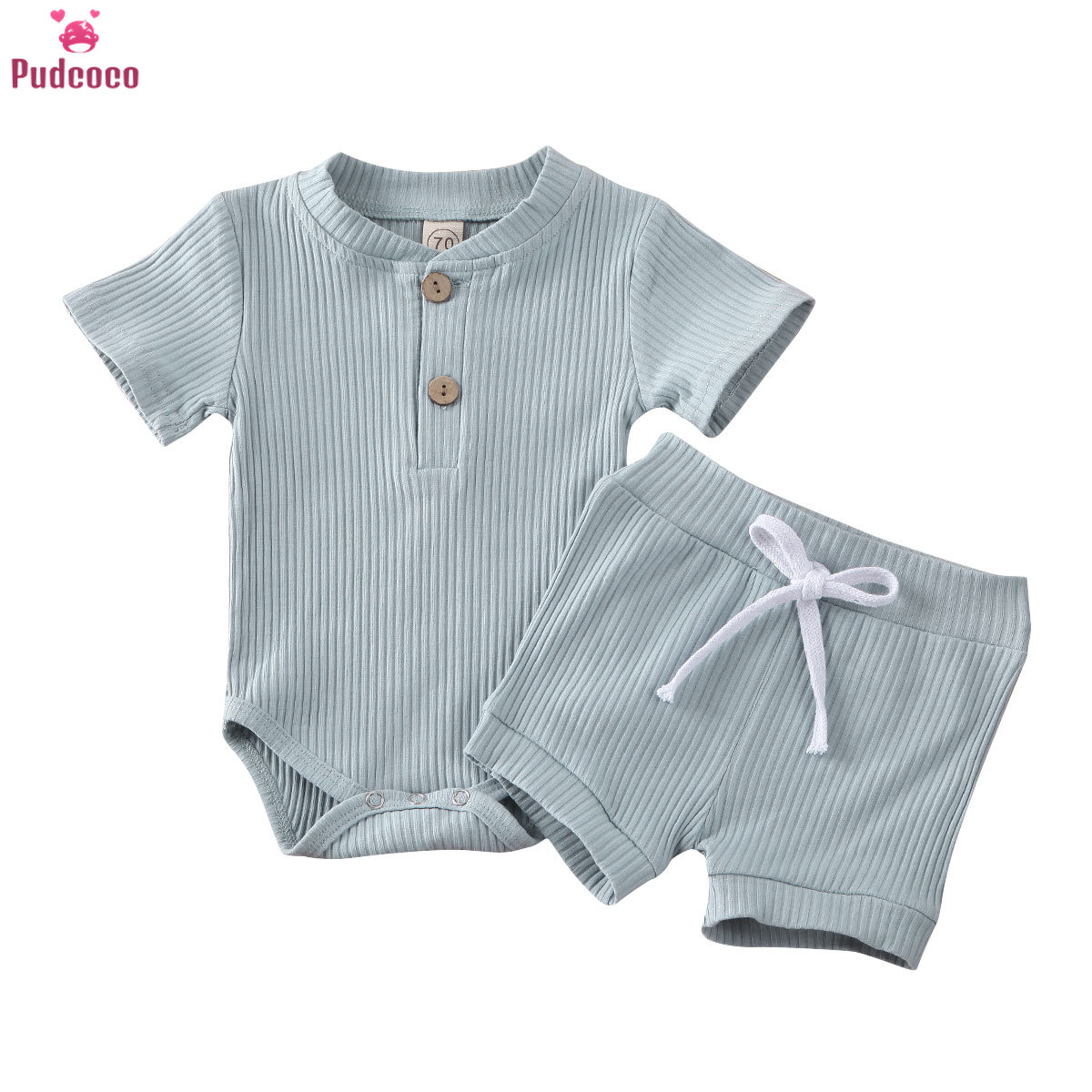 Baby Summer Clothing Newborn Kid Baby Boy Girl Clothes Short Sleeve Bodysuit Shorts Ribbed Solid 2Pcs Outfits Set 6-24 Months