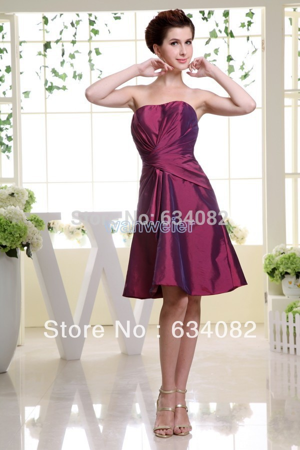 2020 New Arrival Real Photo Free Shipping Brides Maid Short Taffeta Plus Size Fuschia Modest Unique Classy Bridesmaid Dress