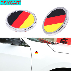 DSYCAR Car Styling Germany National Flag 3D Metal Sticker Mini Round Emblem for Chevrolet Mercedes BENZ Peugeot Jeep Volkswagen