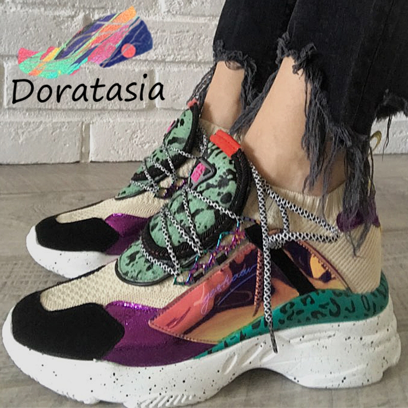 DORATASIA New Genuine Leather Suede Sock Sneakers Women 2019 Autumn Horsehair Decorating High Shoes Women Casual