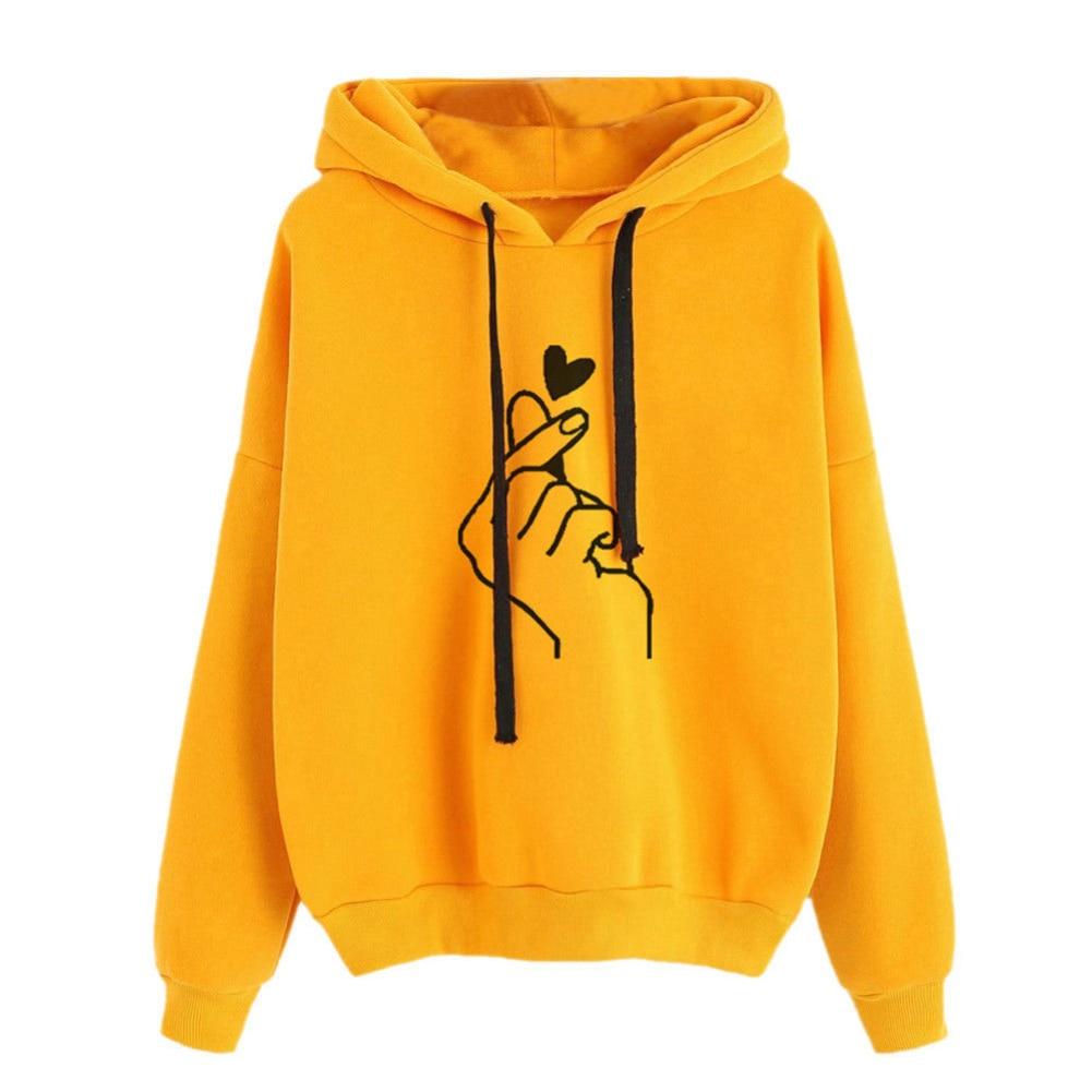 Fashion Korean Clothes Women Sweatshirt Snap Fingers Heart Print Long Sleeve Hoodies Sports Women Hooded Sweatshirt Top Females
