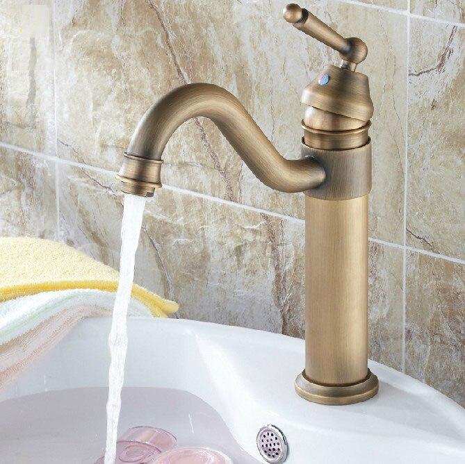 Vintage Retro Antique Brass Kitchen Wet Bar Bathroom Vessel Sink Faucet Swivel Spout Mixer Tap Single Hole One Handle Mnf204
