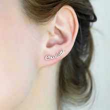 Custom Name Stud Earrings For Women Girls Rose Gold Silver Color Stainless Steel Personalized Female Earring Fashion Ear Jewelry