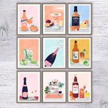Vinho cozinha poster impressão champanhe cocktail bebida quadros em tela pintura da parede imagem da sala de jantar restaurante bar decoração