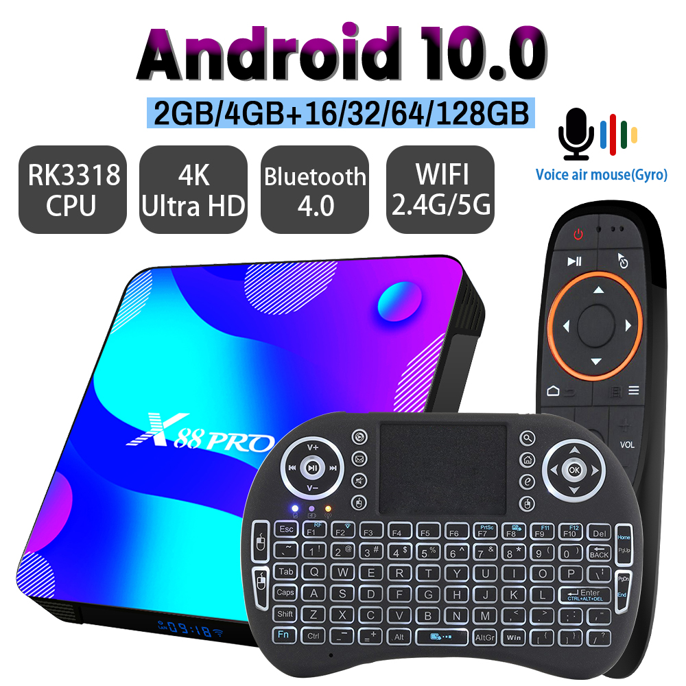 Android 10,0 ТВ коробка X88 PRO 10 32 ГБ, 64 ГБ, 128G 2,4G и 5G RK3318 4K 3D Bluetooth ТВ приемник H.265 быстро Set Top TV BOX ТВ коробка