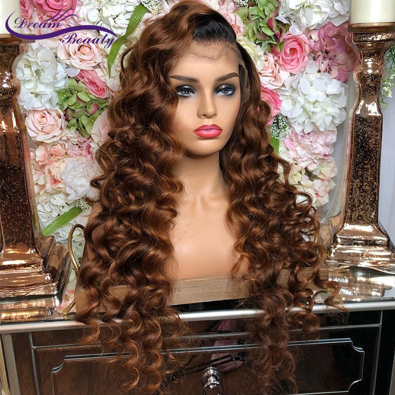 Ombre Brown Lace Front Human Hair Wigs Brazilian Remy Wavy Human Hair With Pre-Plucked Hairline Wigs For Women Dream Beauty