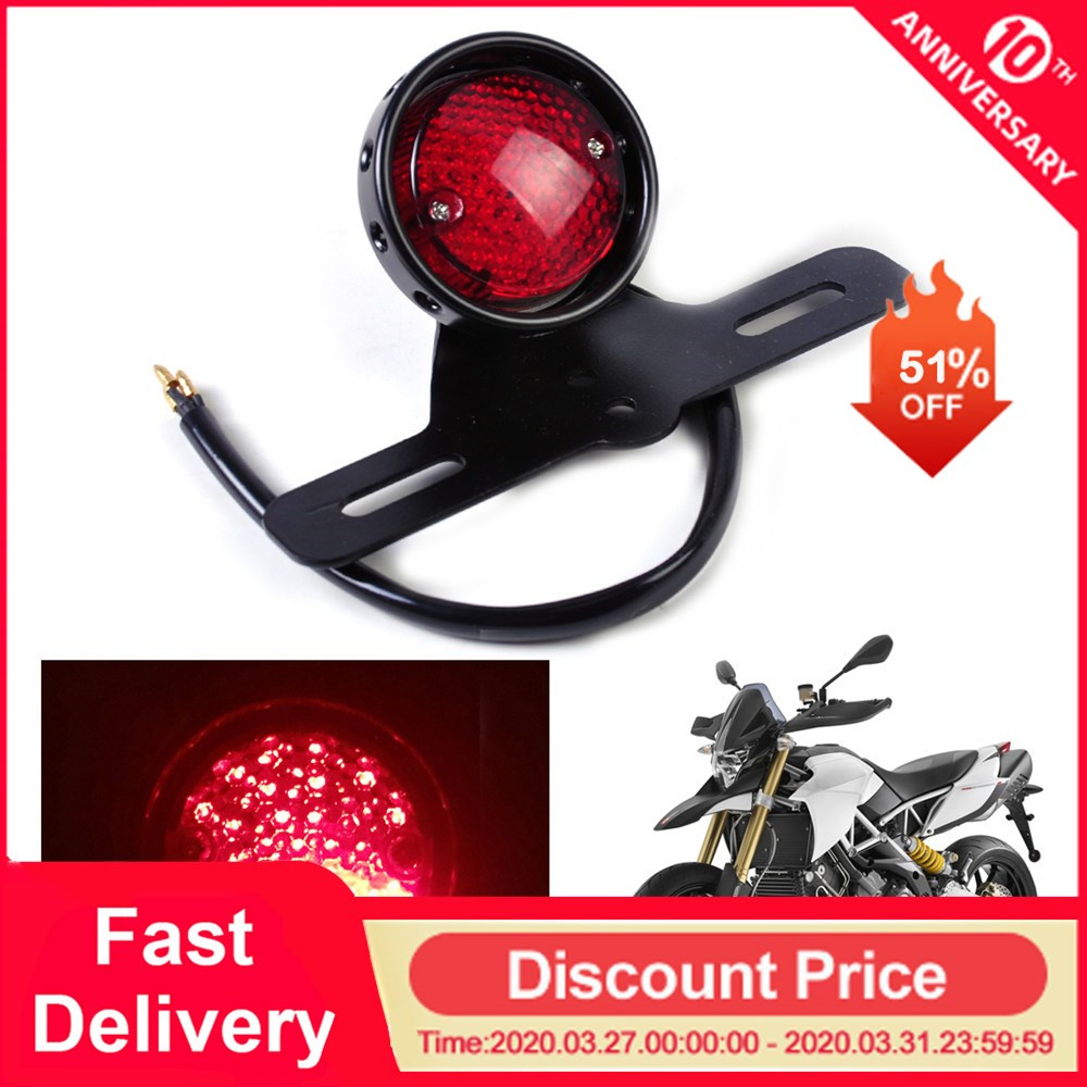 Motorcycle Accessories Retro Red Rear Tail Brake Stop Light Lamp License Plate Mount For Harley Honda Suzuki Chopper Bobber