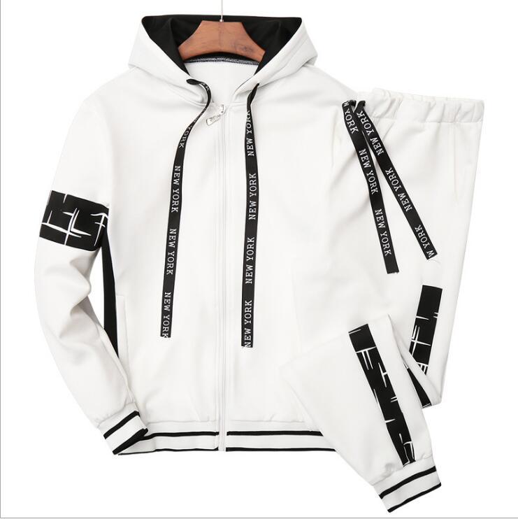 2019 New LJ16 Autumn Men Hoodies Set Male Casual Solid Print Sportswear Zipper Jacket+Sweatpants Sets Mens Tracksuit