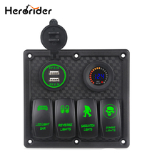 Marine Boat Switch Panel 4 Gang with Voltmeter Socket 4.2A Dual USB Charger Car LED light On/Off Rocker Switch Panel Car Boat dual usb car boat socket rocker switch panel with voltage voltmeter green 12v new