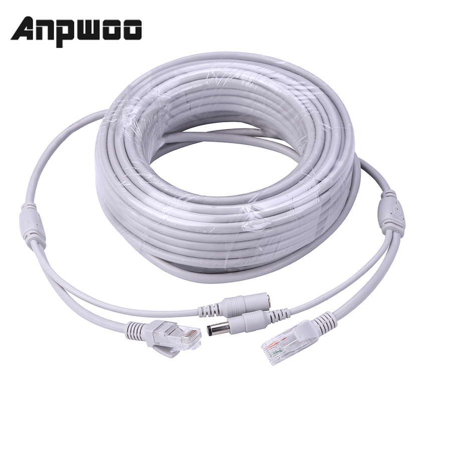ANPWOO 5M/10M/20M/30M Optional 2.1mm/5.5mm jack RJ45 + DC Power Extension Ethernet CCTV Cable For IP Cameras NVR System