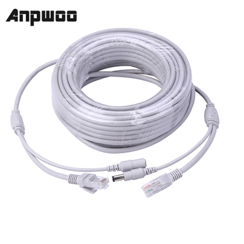 ANPWOO 5M/10M/20M/30M Optional 2.1mm/5.5mm jack RJ45 + DC Power Extension Ethernet CCTV Cable For IP Cameras NVR System - discount item  40% OFF Transmission & Cables
