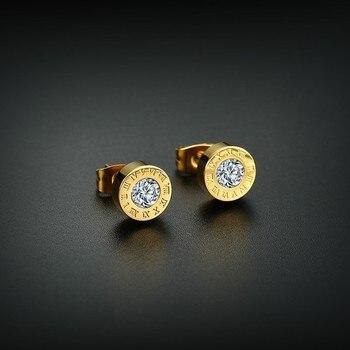 Vnox pendientes numerales romanos elegantes para mujeres oro y oro rosa tono Acero inoxidable CZ piedra pendientes de tuerca joyas