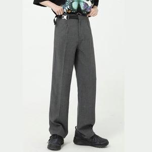 Мужской повседневный костюм с пряжкой на ремне, брюки в японском и корейском стиле, уличная одежда, винтажные модные длинные брюки, прямые б...